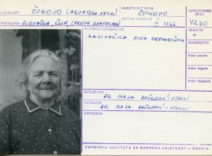 Folklorna građa hrvatskih sela u Slovačkoj; Devinska Nova Ves, 1966.: Kazivačica Ana Gregoričeva.