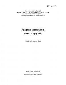 Domovinski rat i ratne žrtve u 20. stoljeću: etnografski aspekti. Novinar. Šibenik, 28. lipnja 2005.