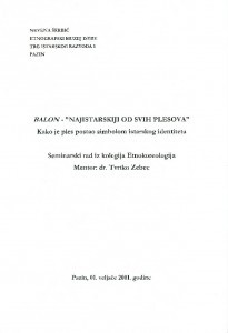 Seminarski radovi kolegija Etnokoreologija poslijediplomskog studija etnologije 2000/2001.