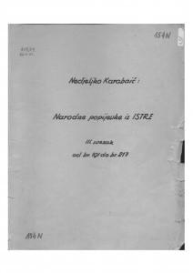 Narodne popijevke iz Istre, sv. III., 1952.