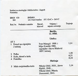 1. Pounje i Banija; Folklorna građa, 1959.; 2. Međimurje; 3. Donje Sitno, Poljica.