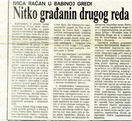 Dan ustanka 1989. - Nitko građanin drugoga reda