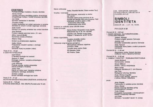 Program 23. kongresa Saveza etnoloških društava Jugoslavije