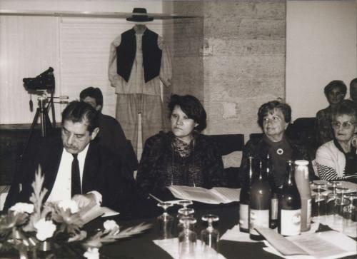 Skup povodom stogodišnjice rođenja Vinka Žganca 25.10.1990; Imre Olsvai, Dragica Šimunković, Jelka Radauš-Ribarić, Dunja Rihtman-Auguštin.