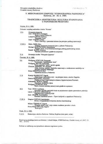 Program 9. međunarodnog simpozija Ethnographia Pannonica