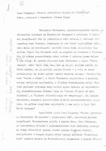 Luce Irigaray: Morska ljubavnica Friedricha Nietzschea