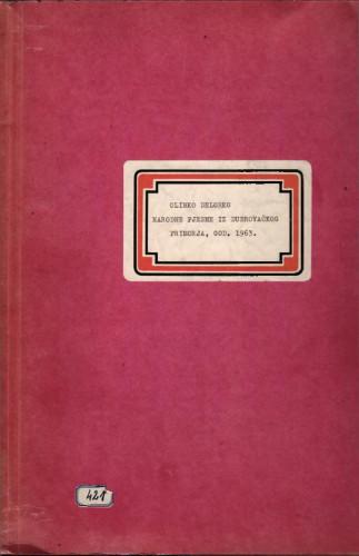 Narodne pjesme iz Dubrovačkog primorja, 1963.