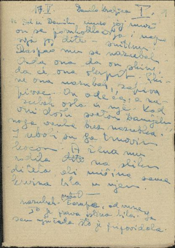 Narodne pjesme, pripovijetke i običaji iz okolice Šibenika i Drniša, 1952. Terenska bilježnica br. 1.