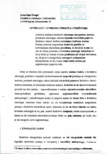 Antun Radić i suvremena etnološka istraživanja. Znanstveni skup, 1993.