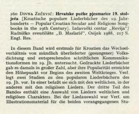 Divna Zečević: Hrvatske pučke pjesmarice 19. stoljeća