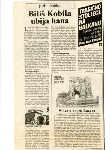 600 godina od bitke na Kosovu polju (13. dio) - Biliš Kobila ubija hana