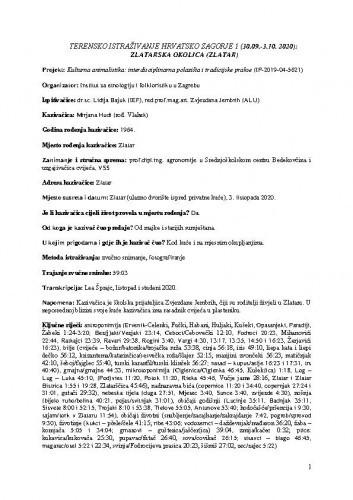 Terensko istraživanje Hrvatsko zagorje 1 - Zlatarska okolica (Zlatar)