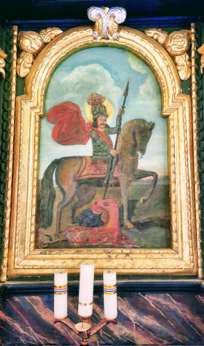 Oltarna slika konjanika sv. Jurja u borbi protiv zmaja, lijevi bočni oltar kapele sv. Margiete, Peršaves