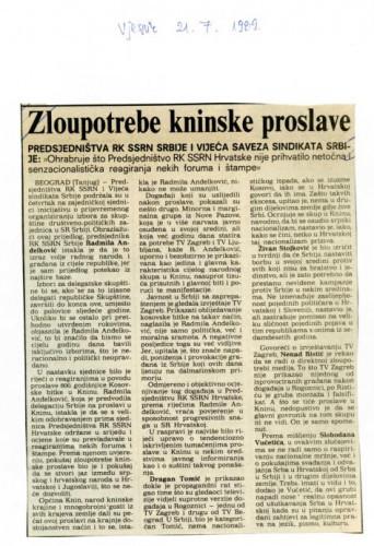 Proslava Kosovske bitke - Zloupotrebe kninske proslave