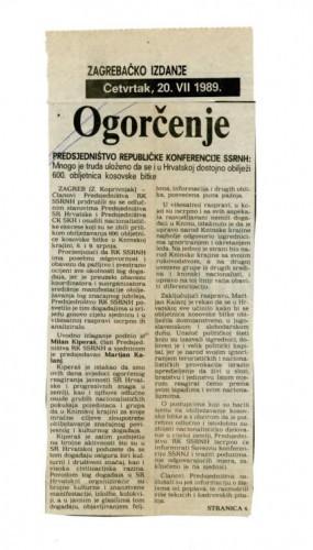 Proslava Kosovske bitke - Ogorčenje