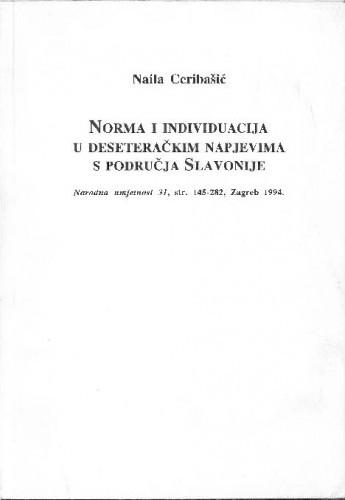 Norma i individuacija u deseteračkim napjevima s područja Slavonije