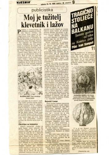600 godina od bitke na Kosovu polju (11. dio) - Moj je tužitelj klevetnik i lažov