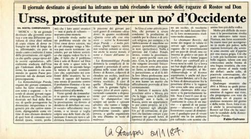 Urss, prostitute per un po' d' Occidente (članak)