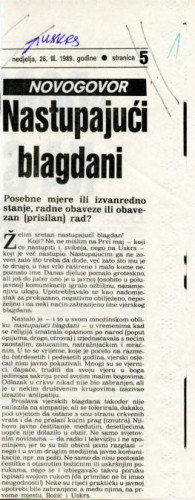 Uskrs 1989. - Pitanje jezika