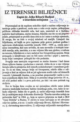 Iz terenske bilježnice : zapisi dr. Jelke Ribarić Radauš o istarskim nošnjama