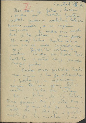 Narodne pjesme, običaji, priče, predaje i drugo iz Konavala, 1954. Terenska bilježnica  br. 5.