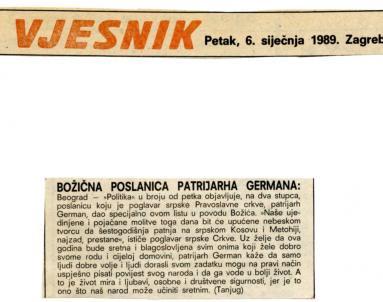 Božić 1988. - Božićna proslava patrijarha Germana