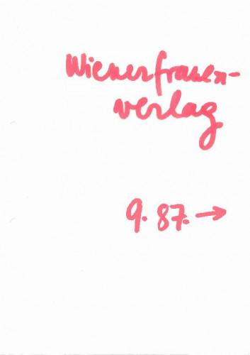 Wiener Frauenverlag 1987.