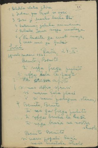 Folklorna građa okolice Labina, 1952. Terenska bilježnica br. 2.