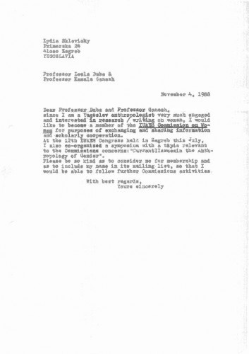 IUAES Women Commission - korespondencija 1988-89.