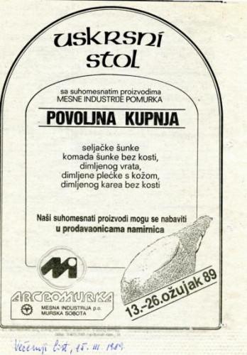 Uskrs 1989. - Uskrsni stol (reklama)