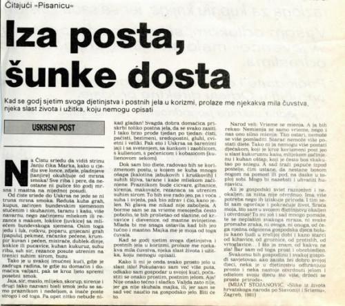 Uskrs 1989. - O postu