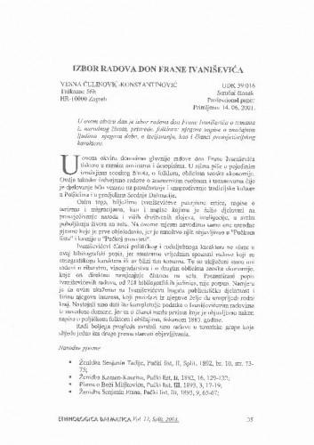 Izbor radova don Frane Ivaniševića