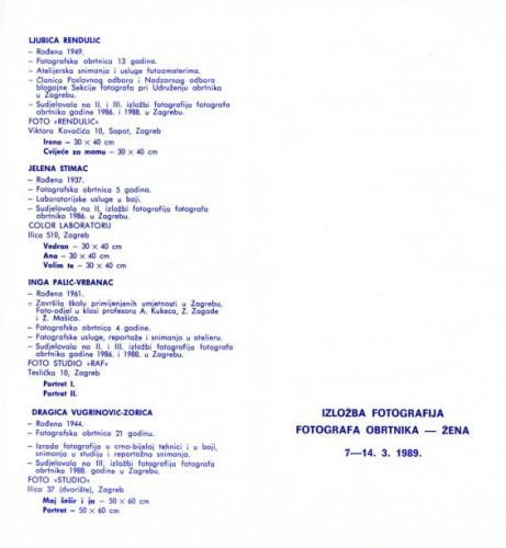 Pozivnica i katalog izložbe fotografija fotografa obrtnika - žena