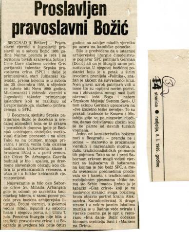 Božić 1988. - Proslavljen pravoslavni Božić
