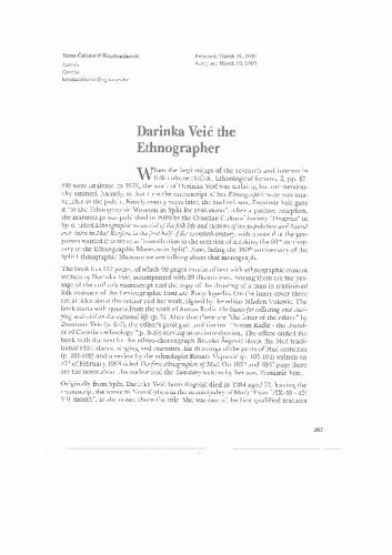 Darinka Veić the ethnographer