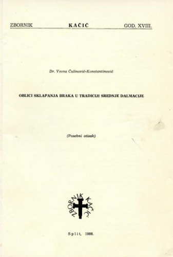 Oblici sklapanja braka u tradiciji Srednje Dalmacije
