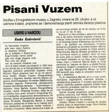 Uskrs 1989. - Najava izložbe