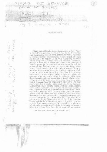 Simone de Beauvoir: Drugi spol (predgovor)