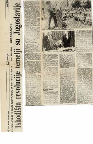 Dan ustanka 1989. - Ishodišta revolucije temelji su Jugoslavije