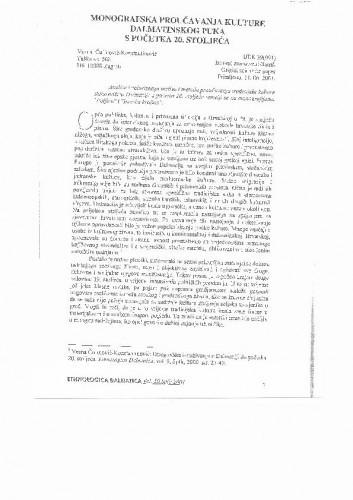 Monografska proučavanja kulture dalmatinskog puka s početka 20. stoljeća