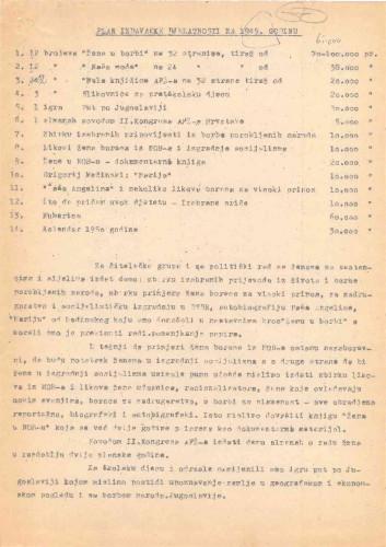 AFŽ - Plan izdavačke djelatnosti za 1949. g.