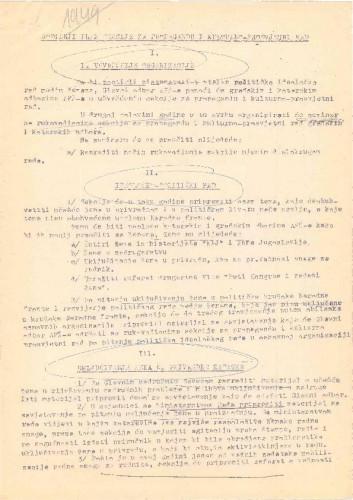 AFŽ - Godišnji plan sekcije za propagandu i kulturno-prosvjetni rad