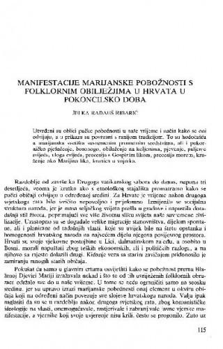Manifestacije marjanske pobožnosti s folklornim obilježjima u Hrvata u pokoncilsko doba