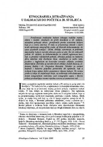 Etnografska istraživanja u Dalmaciji do početka 20. stoljeća