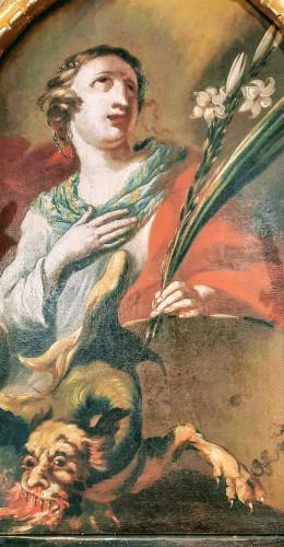 Detalj slike sv. Margarete s vragom, kapela sv. Margiete, Peršaves