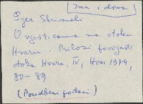 Narodne pripovijetke, predaje i pjesme s otoka Hvara: 1965. sv. I i II. Terenska bilježnica - prilog.