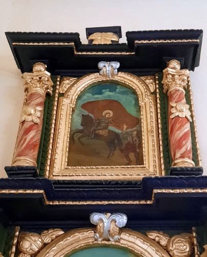 Slika sv. Martina na konju, atika lijevog bočnog oltara kapele sv. Margiete, Peršaves