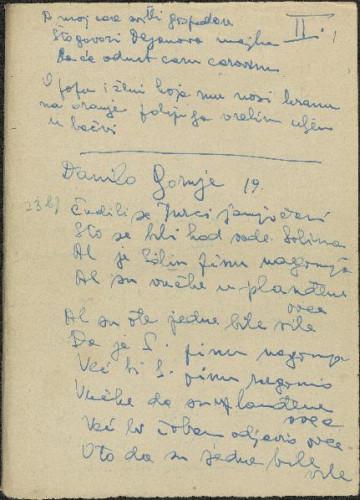 Narodne pjesme, pripovijetke i običaji iz okolice Šibenika i Drniša, 1952. Terenska bilježnica br. 2.