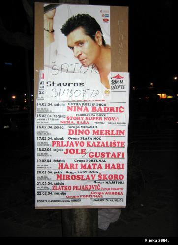 Karneval u Rijeci, 20. 02. 2004.  Šator u petak: koncert Miroslava Škore.