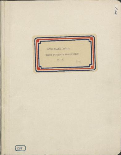 Razne svjetovne kompozicije, 1882- 1928. Svezak IV.